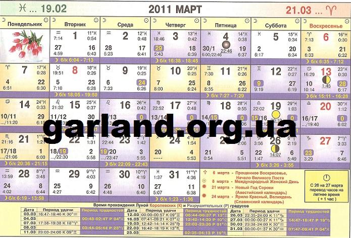 Астрологический календарь на 2011 год для Украины
